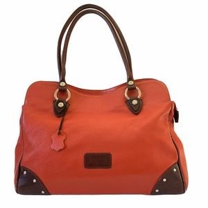 Valentina | Orange Pebbled Leather Satchel w Brown